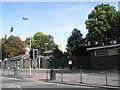 """SU8650 : Traffic lights by the entrance to """"The Recreation Ground"""" by Basher Eyre"""
