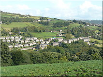 SE0424 : View of the Burnley Road area of Luddenden Foot by Humphrey Bolton